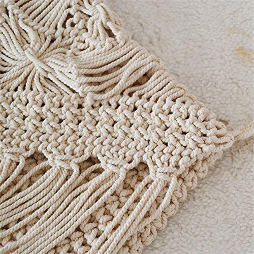 Cotton Knitting zyurong Women Bag Messenger Beach with Bags Girls for Woven Bag Decor Shoulder and Bohemian Crocheting Handmade Tassel ARPRqBw
