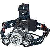 YL TRD Frontal Lámpara Led para Cabeza Recargable 3 Cree T6, Foco Luces Headlamp Faros LED, Lámpara de Cabeza para…