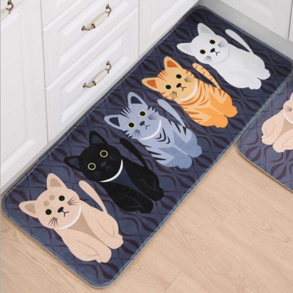 Gydthdeix RectangleCartoon Lovely Cats Kitty Pattern Mat Rug For Stairway Toilet Floor Bedroom Living Room Bathroom Kitchen Home Decoration Area
