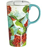 "Cypress Home Trio Birds 17 oz Boxed Ceramic Perfect Travel Coffee Mug or Tea Cup with Lid - 3""W x 5.25""D x 7""H"