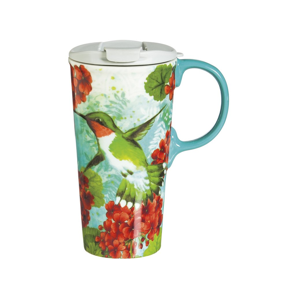"Cypress Home Trio Birds 17 oz Boxed Ceramic Perfect Travel Coffee Mug or Tea Cup with Lid - 3""W x 5.25''D x 7''H"