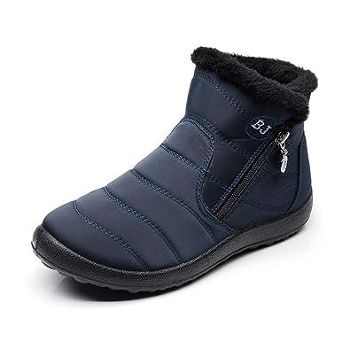 buy popular 0bd9c a6451 Winterstiefel Damen Warm Fell Gefütterte Schneestiefel Frauen Stiefeletten  Flach Winter Schuhe Outdoor Bequeme Schwarz Blau Braun Gr.35-43