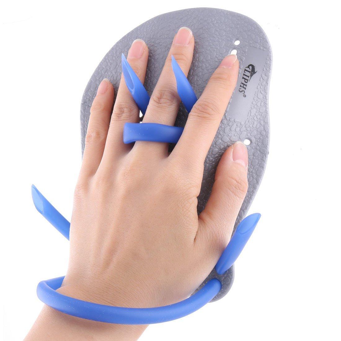 eDealMax Formation Piscines en Plastique aide Pagaies Main palmés paire de gants gris bleu