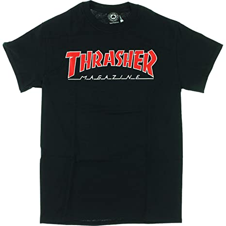 f6e20f8c Amazon.com: Thrasher Magazine Outlined Black Men's Short Sleeve T-Shirt -  Large: Sports & Outdoors