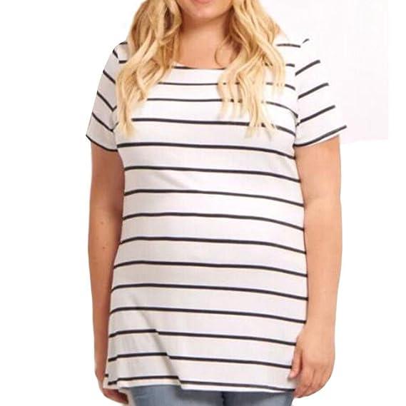 Cinnamou Blusa Embarazada,Camiseta de Maternidad de Manga Corta Moda Raya (S)
