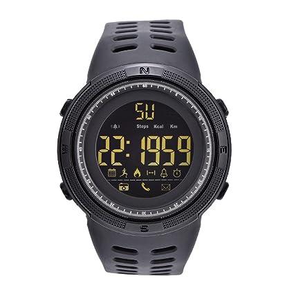 Relojes Digitales 3 Colores Reloj Electrónico Redondo Luz de Fondo Reloj Deportivo Impermeable(Negro)