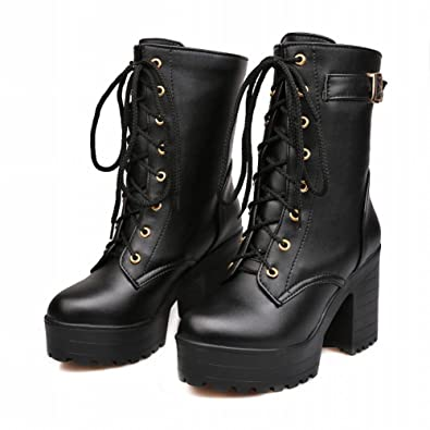 Amazon.com | Carol Shoes Fashion Women's Lace-up Buckle Combat ...
