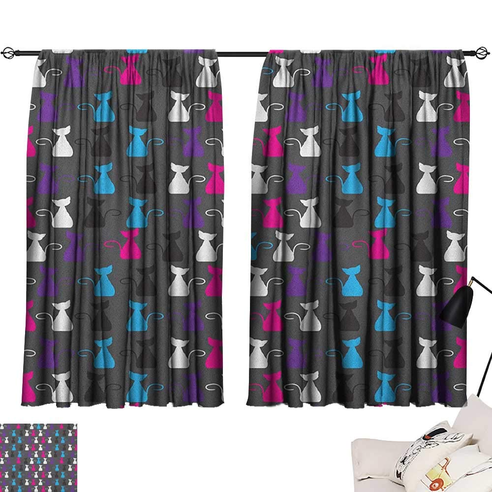 Pattern17 W63  x L63  Beihai1Sun Kids Activity Indoor Darkening Curtains Cartoon Style Road with a Variety of Vehicles Buses Cars and Trucks Driving Curtain for Bedroom Multicolor W63 x L45