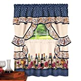 wine and grapes swag - Collections Etc Country Wine, Vineyard Scene Rod Pocket Top Window Curtain Set with 2 Tier Panels, Ruffled Tiebacks and Swag Valance, 57