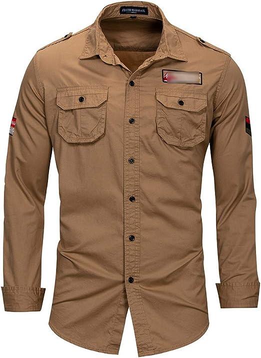 Camisa de Solapa de Manga Larga para Hombres de Gran tamaño Algodón al Aire Libre Militar Ocio Camisa de Bolsillo Camisas de Vestir para Hombre (Color : Caqui, tamaño : Metro): Amazon.es: