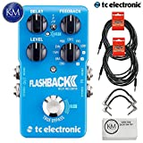 TC Electronic Flashback 2 Delay Pedal for Electric Guitar + (2) 20ft Guitar Cables + (2) Patch Cables + K&M Micro Fiber Cloth Bundle