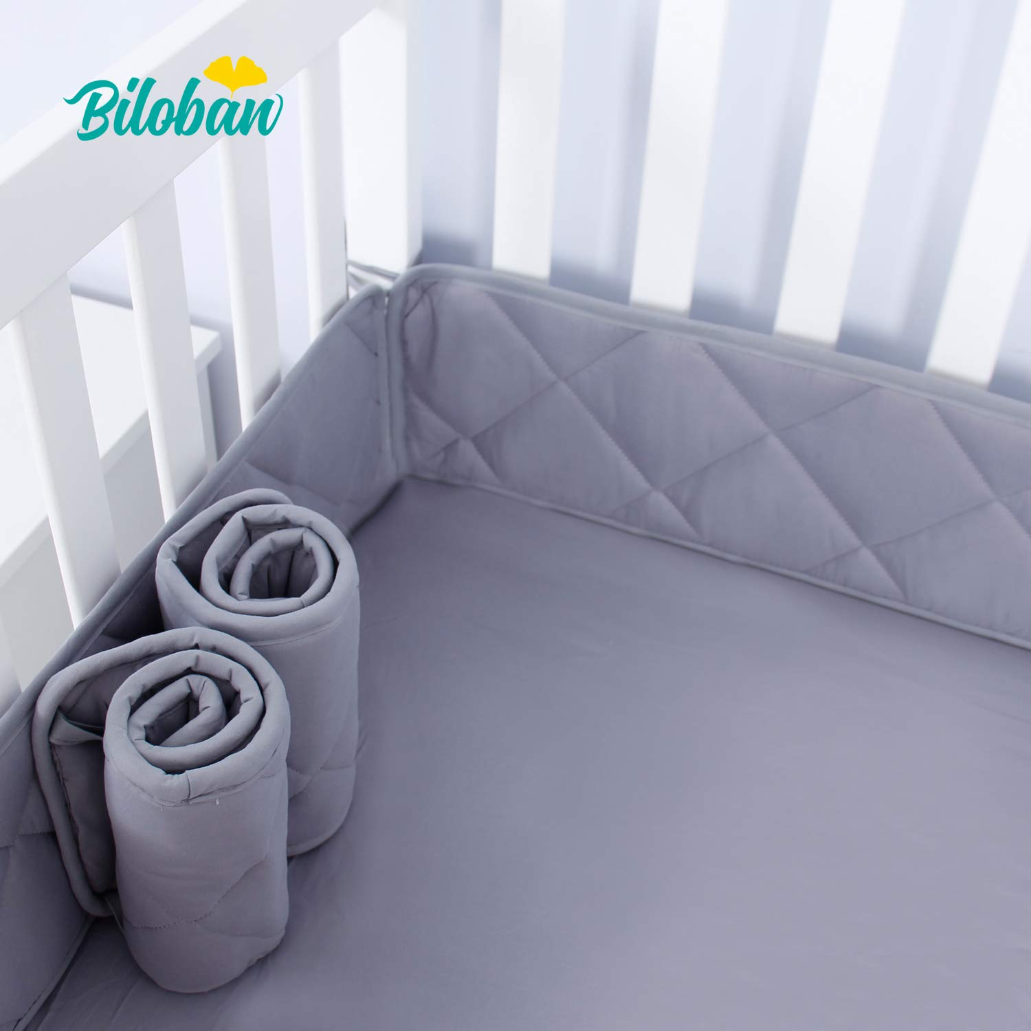 """Nursery Mini Crib Bumper Pads for Boys, Fits for Size 24""""x 38"""" Machine Washable Baby Portable Crib Bumpers, Ultra Soft 4 Pieces for Baby Mini Crib Liners Padded, Gray"""