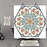 Uhoo Bathroom Suits & Shower Curtains Floor Mats And Bath TowelsAntique Decor Collection Ottoman Turkish Floral Pattern with Tulips Medieval Baroque Effect on Dated Islamic Art Print MultiFor Bathroom