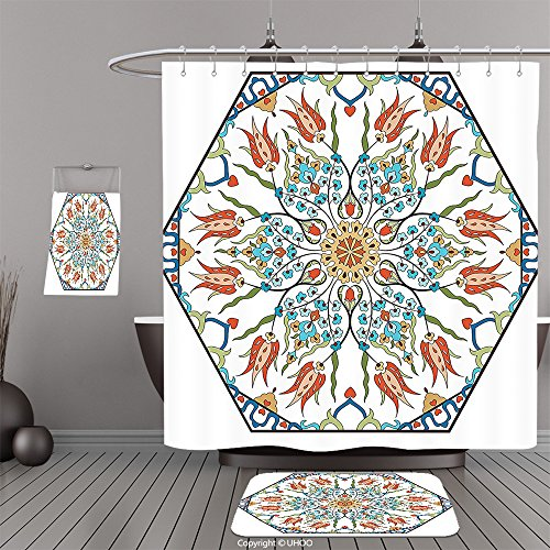 Uhoo Bathroom Suits & Shower Curtains Floor Mats And Bath TowelsAntique Decor Collection Ottoman Turkish Floral Pattern with Tulips Medieval Baroque Effect on Dated Islamic Art Print MultiFor Bathroom by UHOO