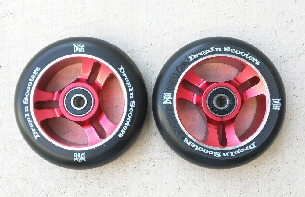 DIS 100mm 赤 5-spoke Metal Core Scooter Wheels with Bearings (2 Wheels)