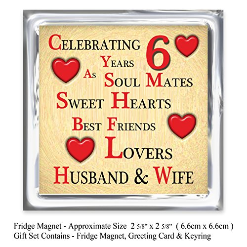 Our 6th Wedding Anniversary Gift Set Card Keyring Fridge Magnet