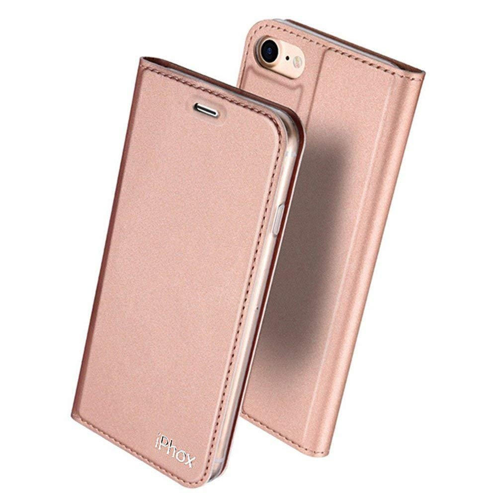 iPhone 6S Leather Case,iPhone 6 Leather Case, IPHOX Premium Folio Leather Wallet Case with [Kickstand] [Card Slots] [Magnetic Closure] Flip Notebook Cover Case for iPhone 6/6S (Rose Gold/E) 01I647