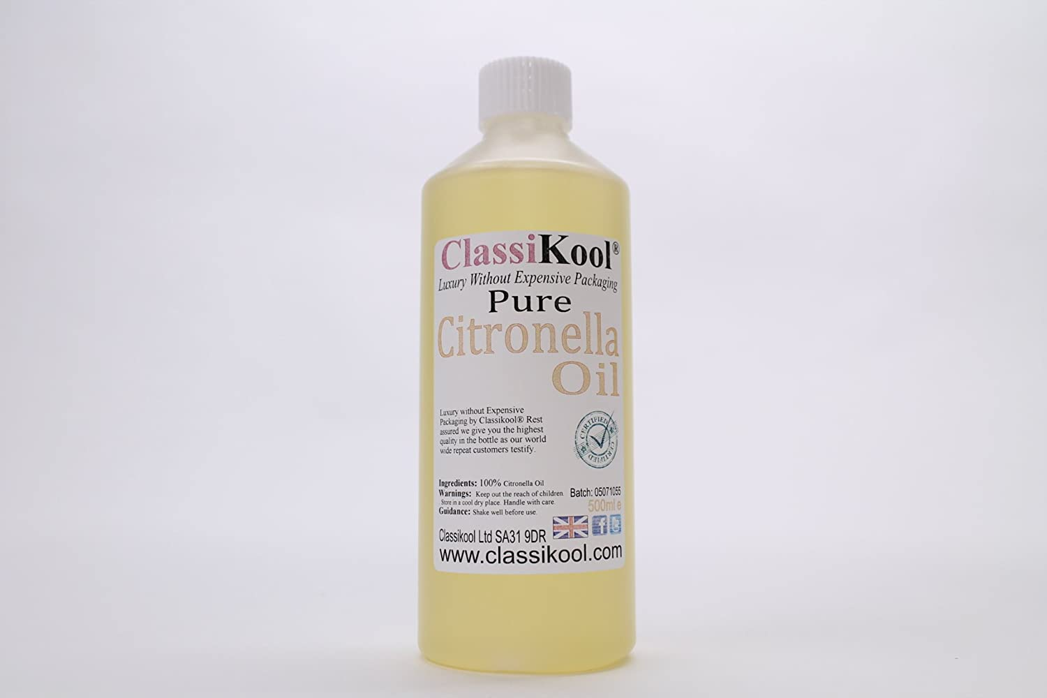 Classikool 500ml [Citronella Essential Oil] 100% Pure for Aromatherapy and Massage [FREE UK Post]