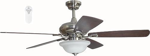 Litex TLEII52BNK5L Brushed Nickel 52-inch Ceiling Fan
