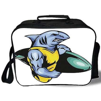 Amazon com: Shark 3D Print Insulated Lunch Bag, Grumpy Surfer Shark