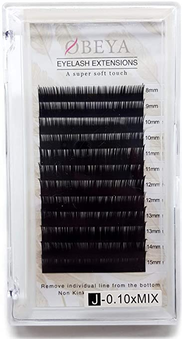616aa1db26a Amazon.com : J Curl Eyelash Extensions .10 Thickness 8-15mm Mixed Tray Soft  Volume Natural Silk Individual Lash Extensions for Salon Perfect Use by  OBEYA : ...