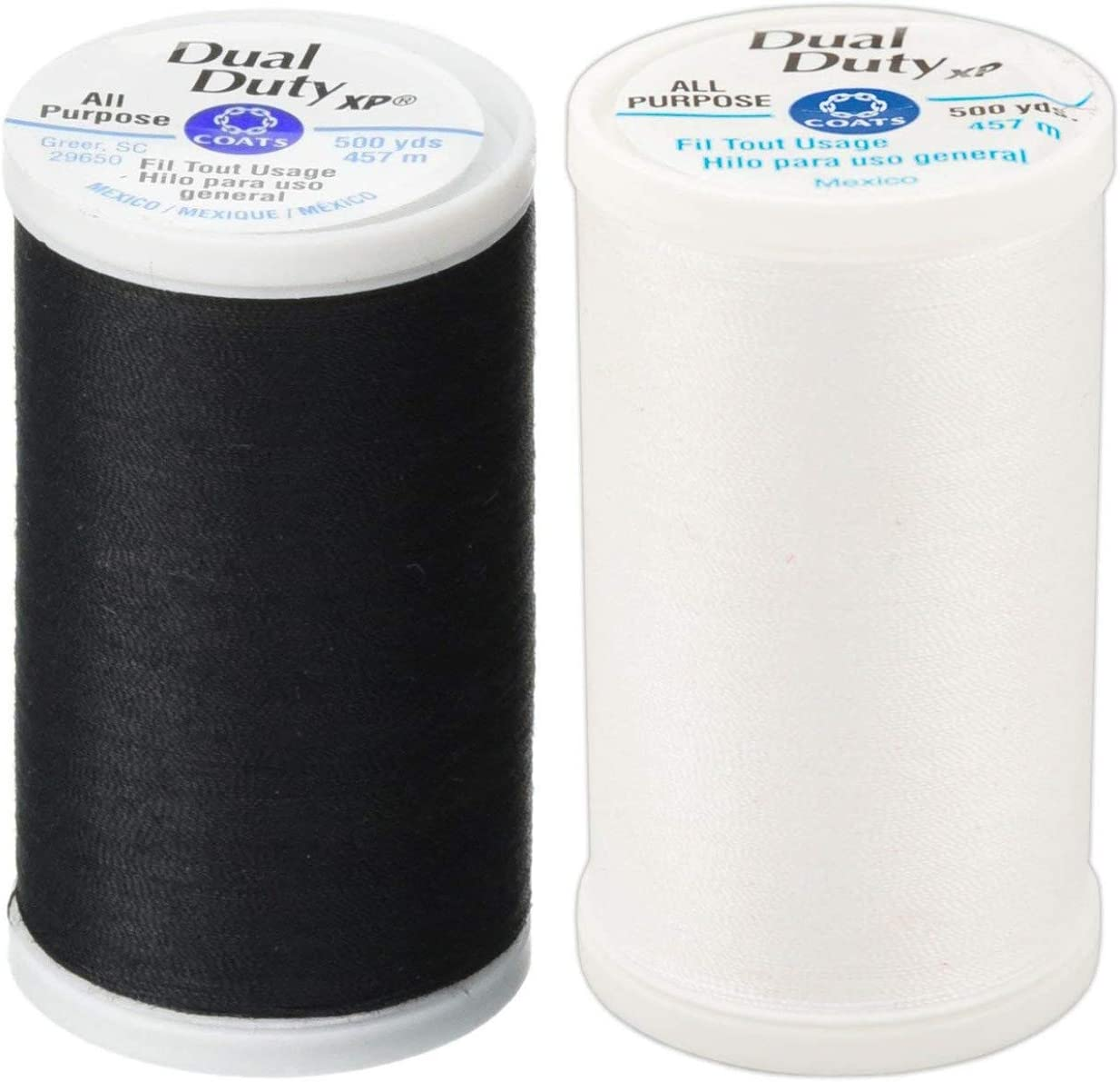 Coats /& Clark Dual Duty All-Purpose Thread BLACK /& WHITE One 400 Yard Spool each of BLACK /& White 2-Pack