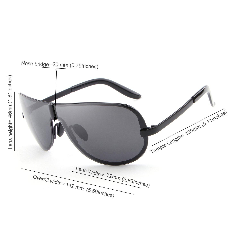 HDCRAFTER Men's Fashion Rimless Sunglasses for Men Polarized Goggles 72mm