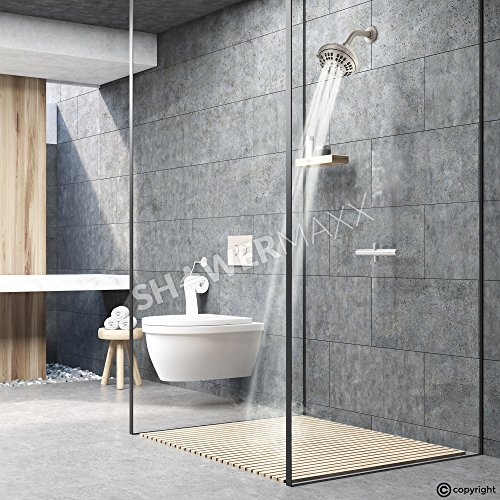 ShowerMaxx | Luxury Fixed Shower Head in Brushed Nickel Finish | Self Cleaning Nozzle Heads with 6-Settings Control | High Pressure Powerful Jets with Massage Spray | Wall Mount Adjustable Showerhead by ShowerMaxx (Image #7)