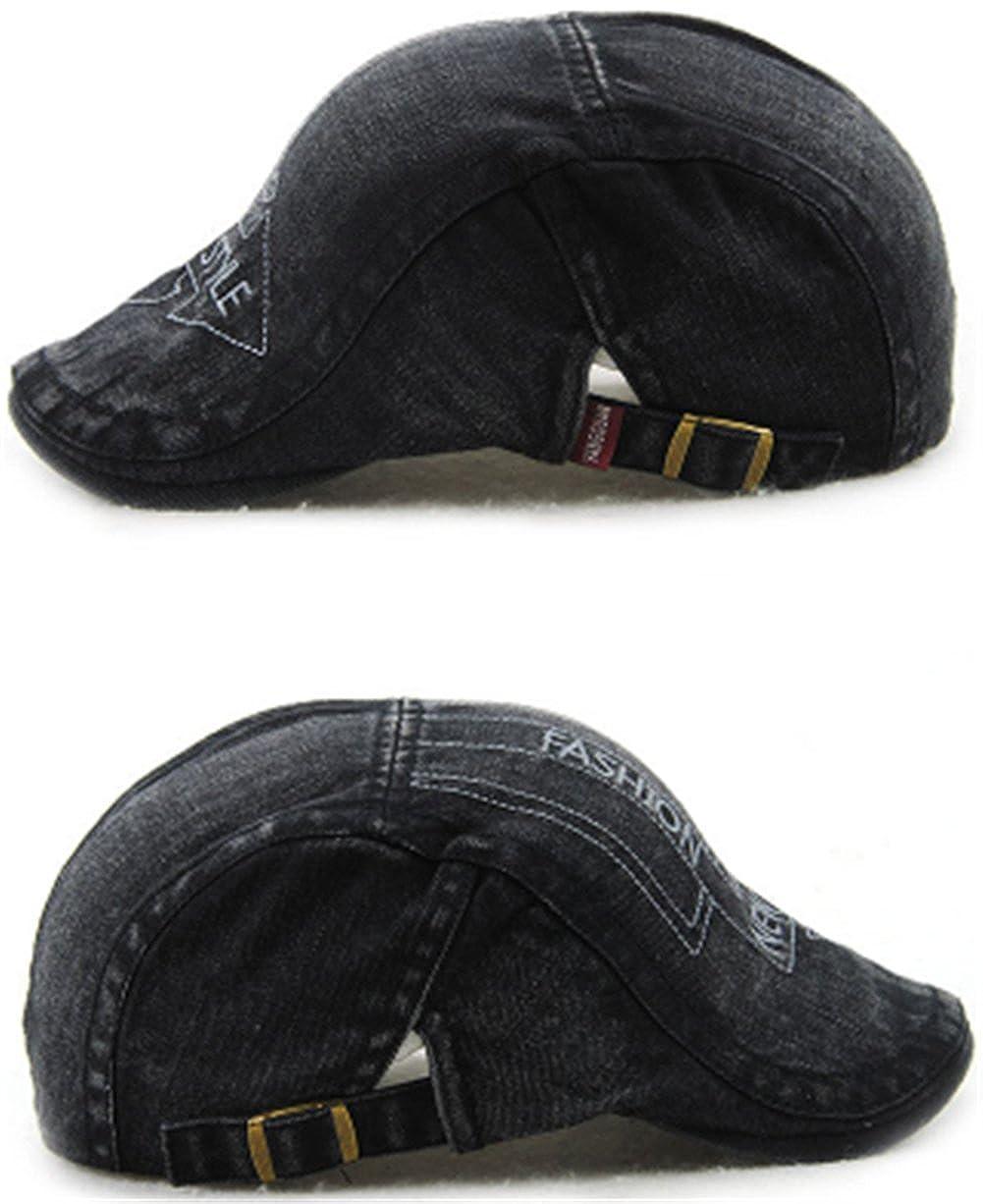 Roffatide Unisex Cartas Bordadas Gorra Duckbill Denim Newsboy Casquillo de la Hiedra Irlandesa Boina Adjustable Black: Amazon.es: Ropa y accesorios