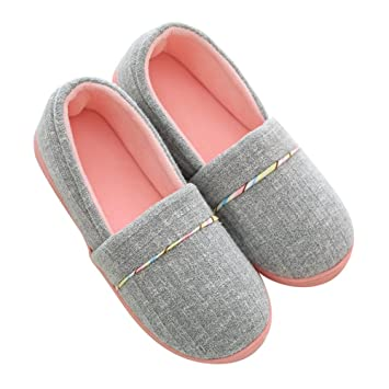 Pantofole di Cotone per Donna Antiscivolo Scarpe Chiuse Ciabatte Invernali da Pingenaneer S35 36 Grigio