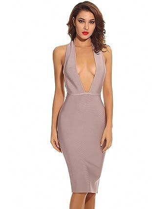 4e619c26474f Maketina Sexy Halter Open Back Chain Deep V Neck Midi Bandage Dress Nude  Polyester XS
