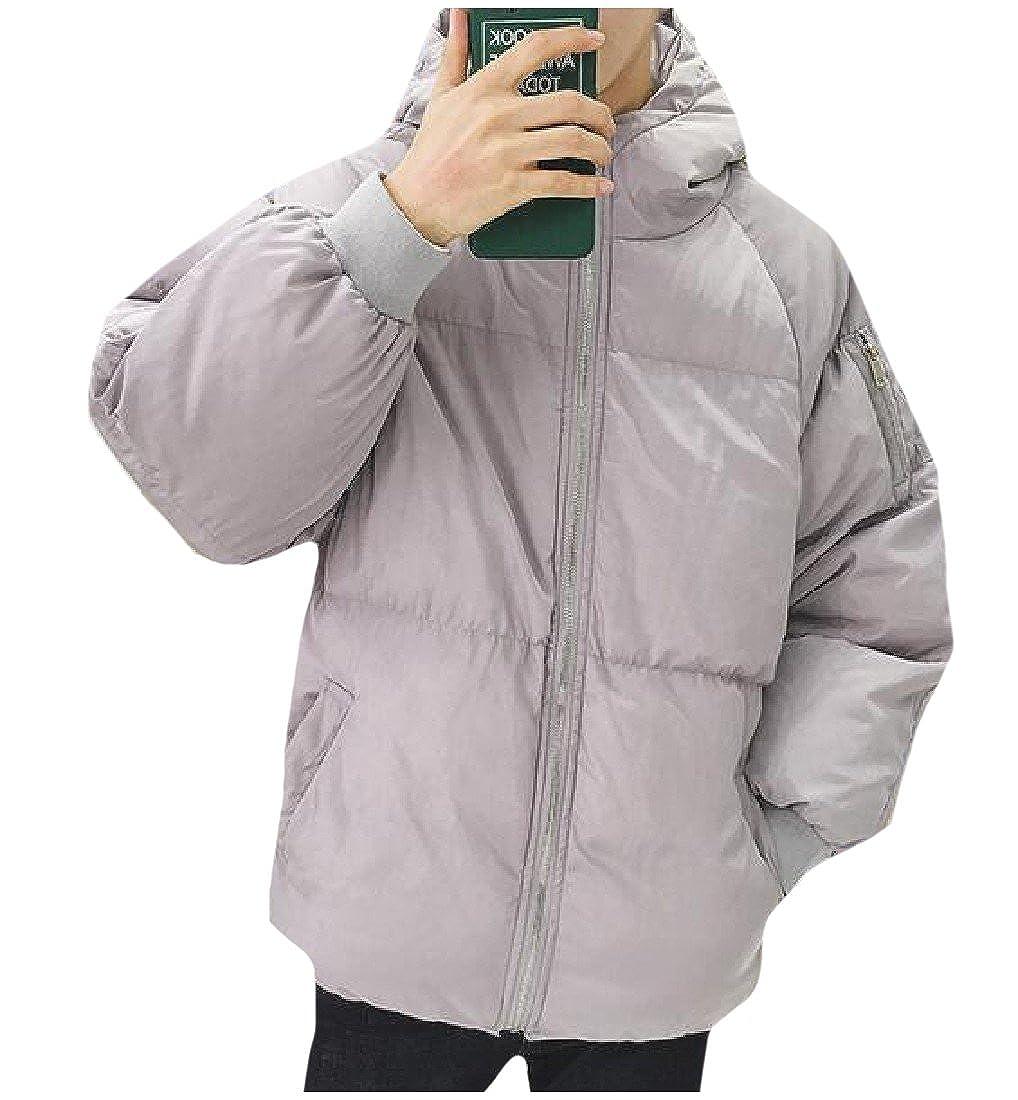RSunshine Men Hooded Light Chic Buttonless Pea Coat Puffer Shaggy Jacket