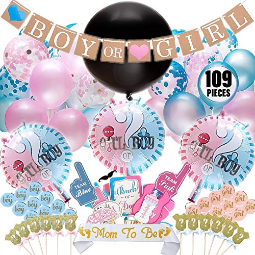 Baby Gender Reveal Party Supplies (109 Pieces) Decorations for Baby Reveal or Baby Shower. Includes: Jumbo Gender Reveal Balloon, Girl or Boy Foil Balloons, Banner, Confetti/Pink & Blue Balloons, Its
