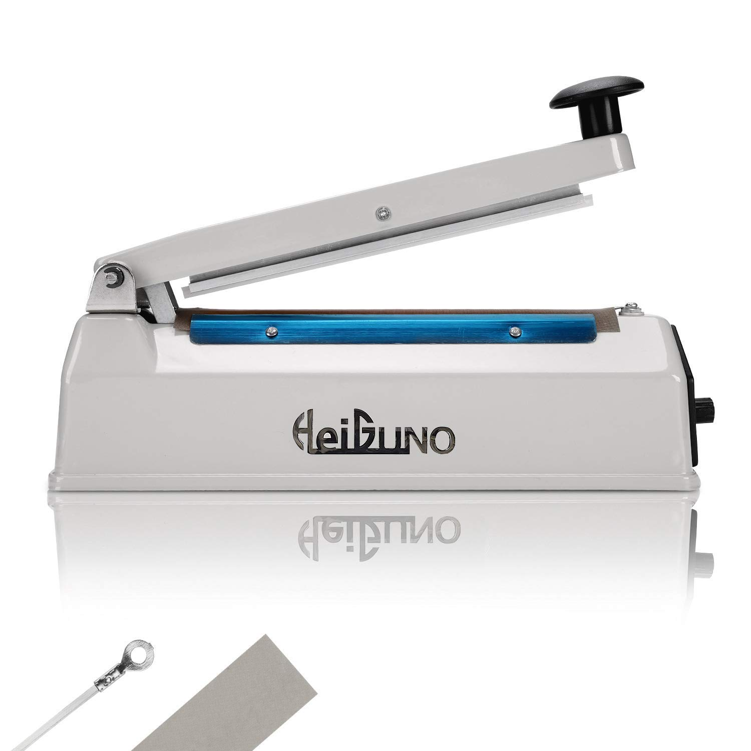 HeiGuno 8'' / 200mm 110V Metal Shell Impulse Manual Hand Sealer Heat Sealing Machine Spare Teflon & Sealing Elements