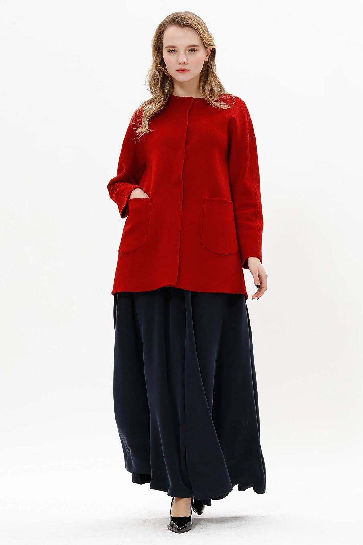 VOA Round-Neck Single-Breasted Straight Pocket Loose Midi Long Cashmere Coats Grey