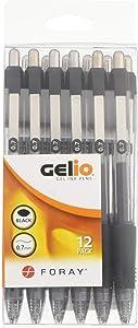 Office Depot Soft-Grip Retractable Gel Pens, Medium Point, 0.7 mm, Transparent Black Barrel, Black Ink, Pack Of 12 Pens