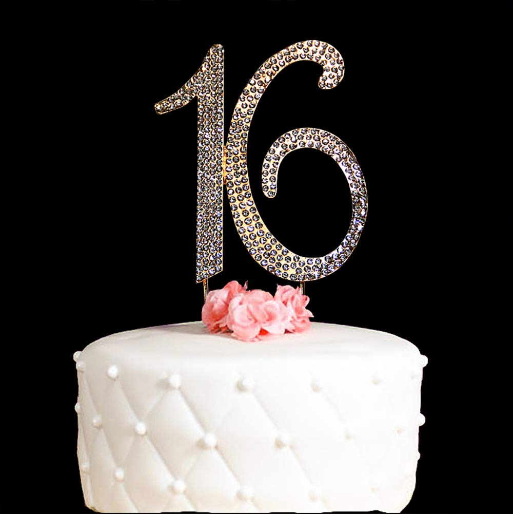 Hatcher lee 16 Cake Topper 16 Years Birthday 16TH Wedding Anniversary Gold Crystal Rhinestone Party Decoration (Gold)