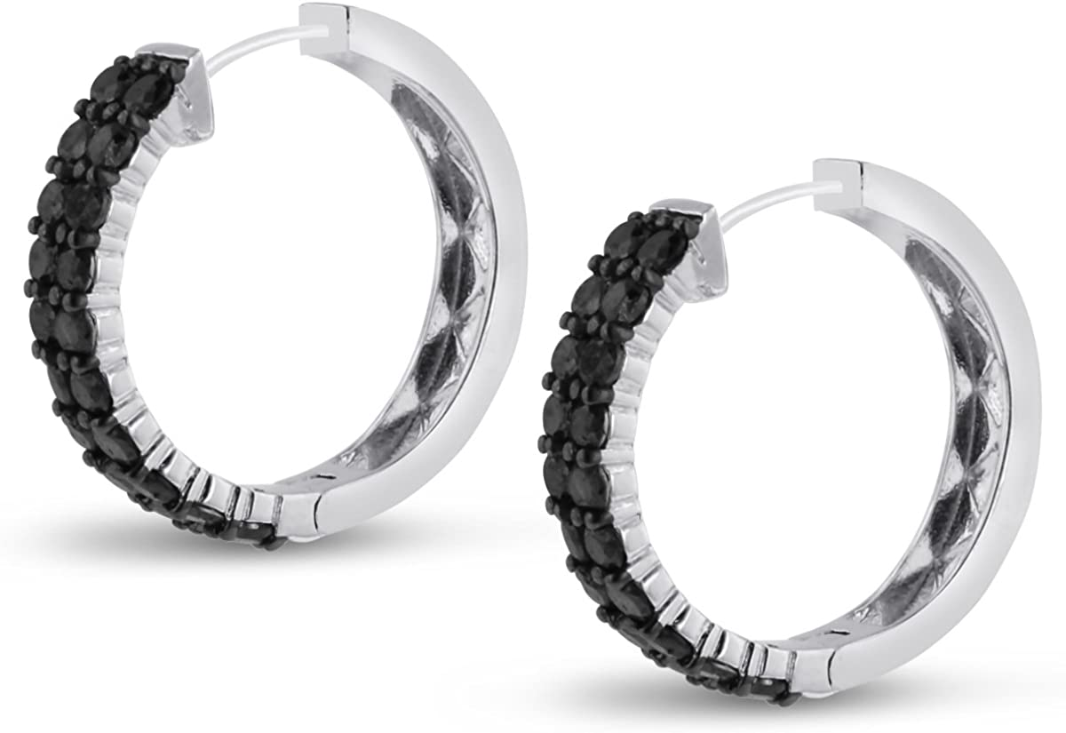 Amazon Com 2ct Black Diamond Pave Hoop Earrings Crafted In Solid Sterling Silver Clothing