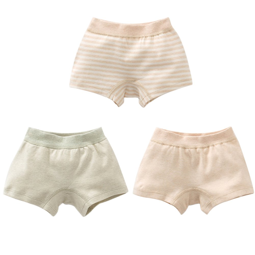 Poliking Children's 100% Nature Organic Cotton Pants Underwear for Baby Girls and Boys,Pack of 3 Pack of 3 (130 Style 2-Girl)