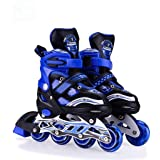 Hoteon Inline Skates Size Adjustable All Pure PU Wheels it has Aluminum-Alloy which is Strong with LED Flash Light on Wheels (Blue, Red, Pink)