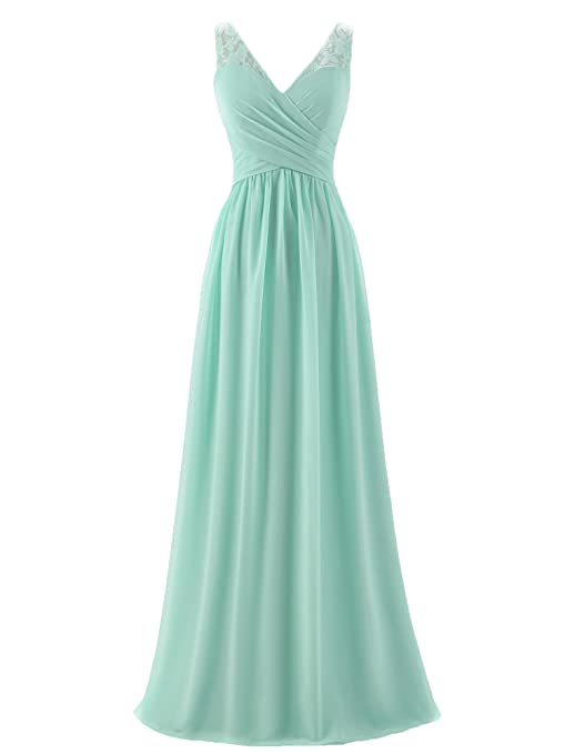 a9736446240 A-line V-Neck Chiffon Long Empire Bridesmaid Dresses Simple Prom Dresses at  Amazon Women s Clothing store