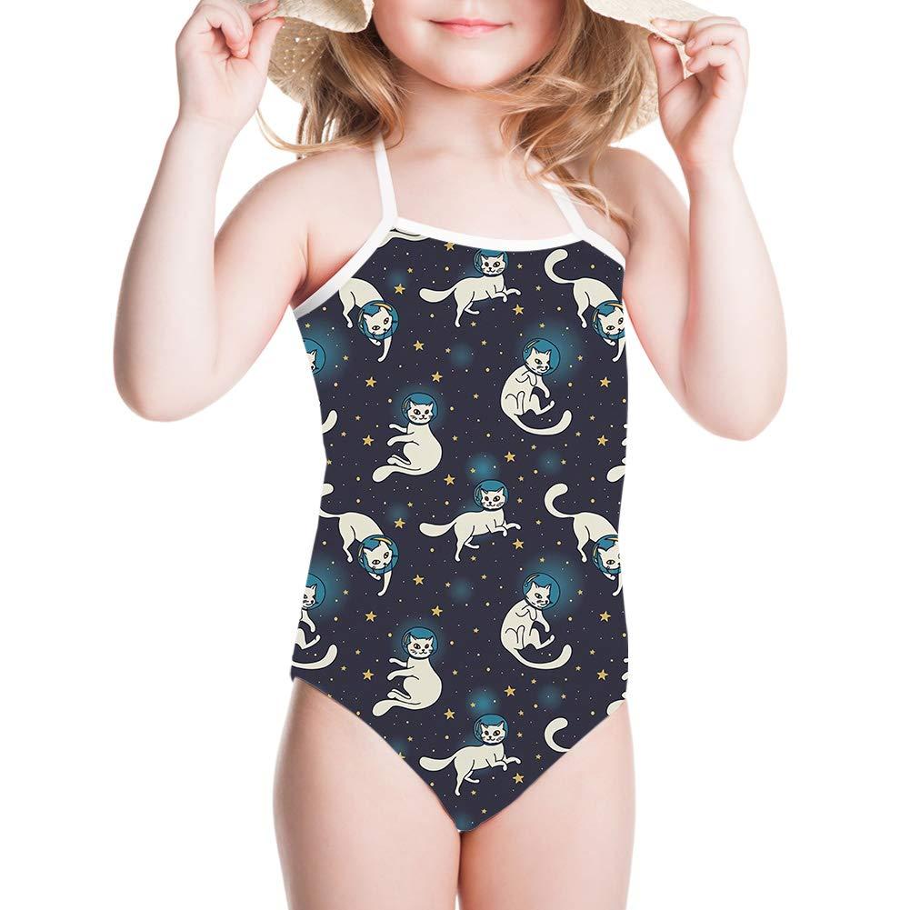 JoyLamoria Kids Halter Cute Swimsuits for Toddler Girls Emoji Pattern 1-pc Swimwear Bathing Suit 3T-6X