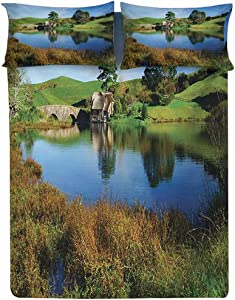 Fitted Sheet Twin Size,Hobbit Land Village House by Lake with Stone Bridge Farmhouse Cottage New Zealand Fitted Sheet Set 3 Piece,1 Fitted Sheet & 2 Pillow Cases,15