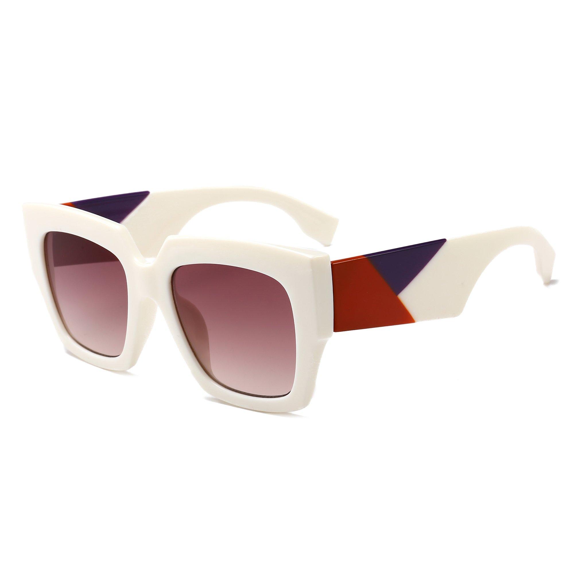 Gobiger Trendy Luxury Square Oversized Sunglasses for Women Brand Designer Shades (White Frame/Gradient Brown Lens) by GOBIGER