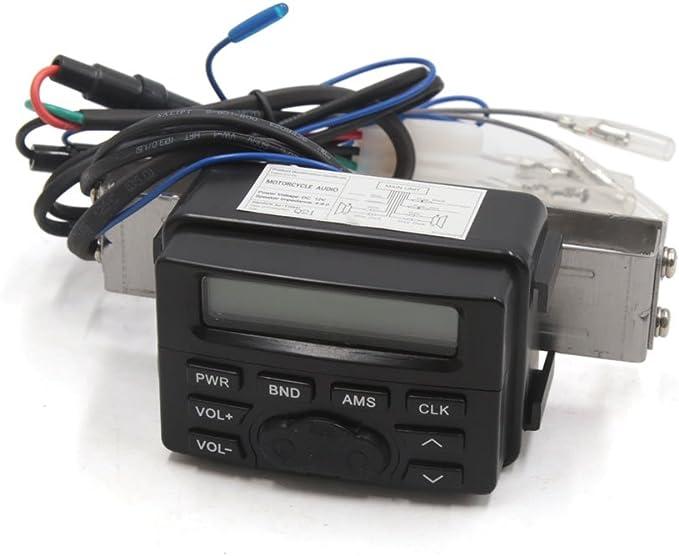 Reproductor de Musica MP3 KKmoon Altavoz BT Impermeable para Manillar de Motocicleta Radio FM Sonido Est/éreo Soporte Ajustable