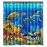 Fabric Shower Curtains with Fish FMSHPON Sea Seabed Fish Corals Underwater Ocean Tropical Waterproof Polyester Fabric Shower Curtain 66 x 72 Inches