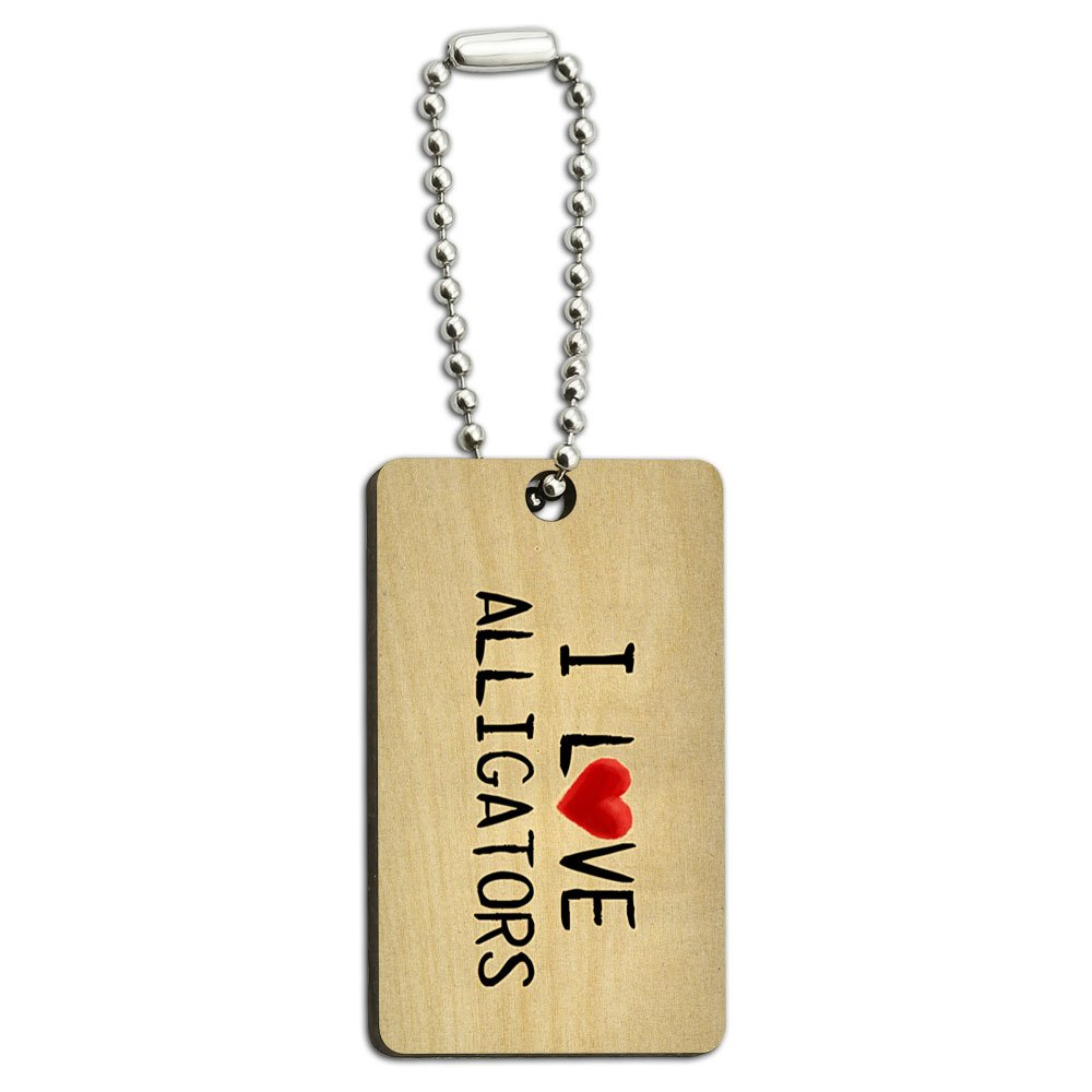 I Love Alligators Written on Paper Wood Wooden Rectangle Key Chain