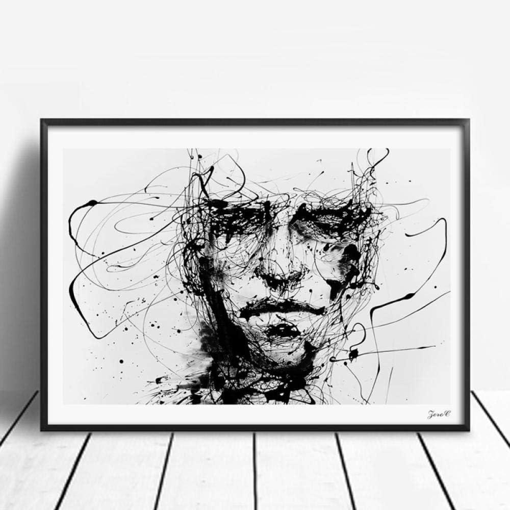 Blanco y negro Dibujo lineal Impresiones artísticas Rostro de mujer Retrato Minimalista Lienzo Arte de la pared Cartel Imágenes de la pared Pintura para sala de estar Dormitorio 60x80cmx1 Sin marco