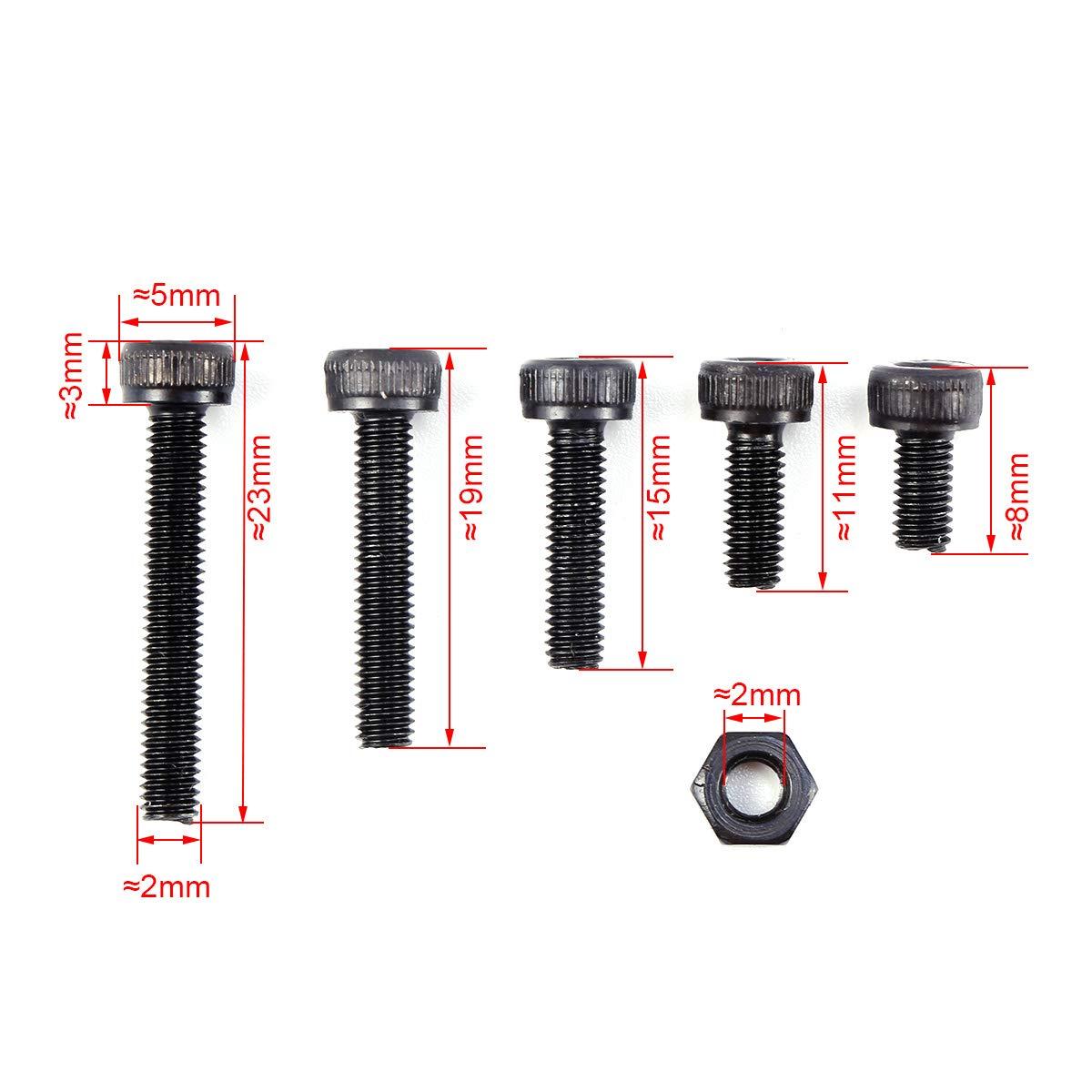 Schwarz M3 Schrauben Muttern Set Innensechskant Gewindeschrauben Schrauben Sortiment Kits 310tlg