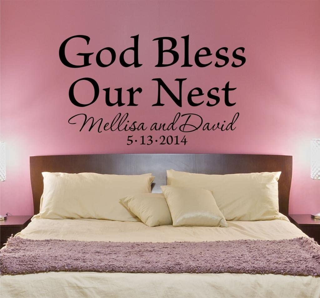 Amazon Com God Bless Our Nest Bedroom Wall Decal Personalized Custom Quote Wall Decal Sticker Home Decals Family Quotes Love Bedroom Decals B13 Arts Crafts Sewing